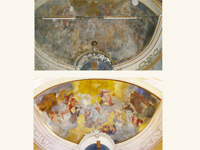 Affresco Chiesa ex Ospedale di Foligno PG, XVIII sec., anno restauro 2017