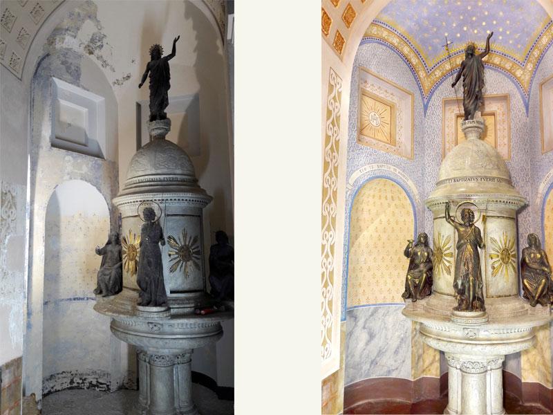 Cappella della fonte Battesimale, Santuario dei sette dolori in Campocavallo AN, decorazioni a tempera XX sec., anno restauro 2016