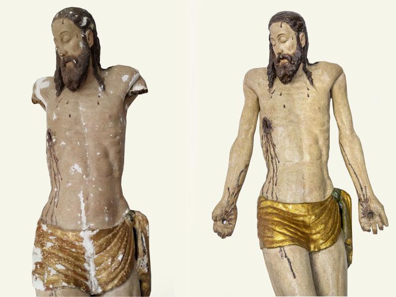 Cristo Morto di Caldarola MC, statua lignea XVI sec., anno restauro 2018