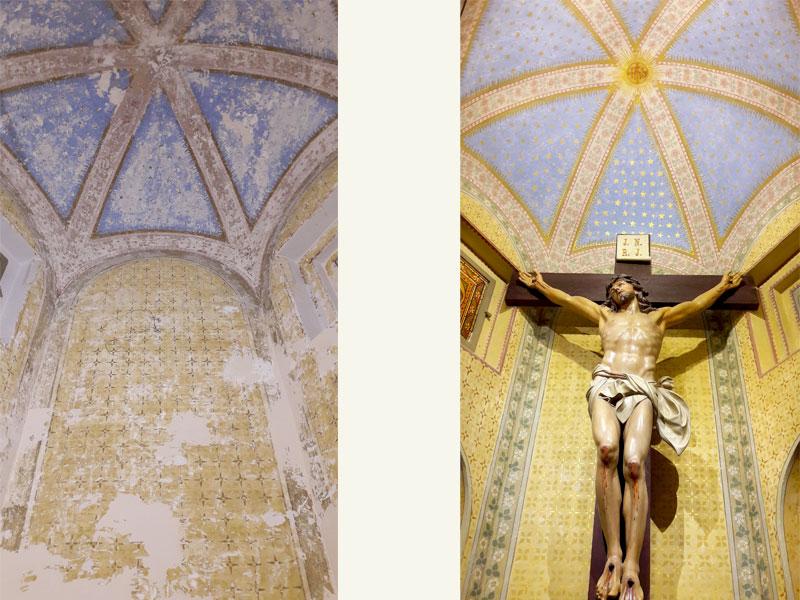 Cappella del Crocifisso, Santuario dei sette dolori in Campocavallo AN, decorazioni a tempera XX sec., anno restauro 2017