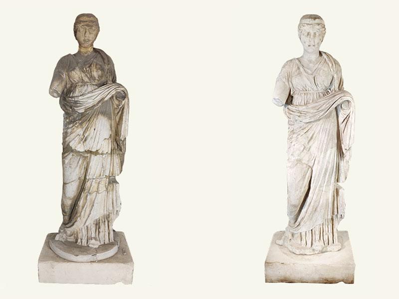 Figura femminile, statua in marmo I-III sec. d.C., restauro anno 2021