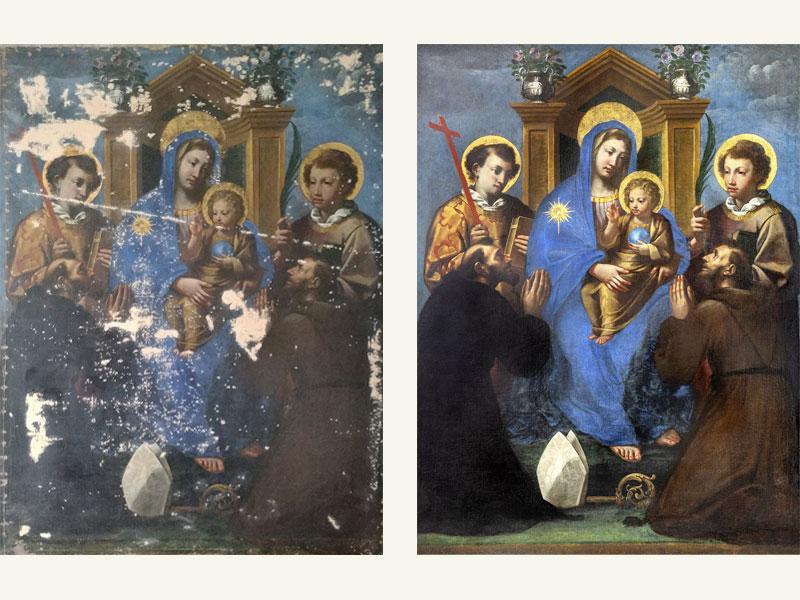 Madonna in trono con santi, Chiesa S. Maria delle Grazie di Camerino MC, XVI sec., 176 x 131 cm, anno restauro 2019