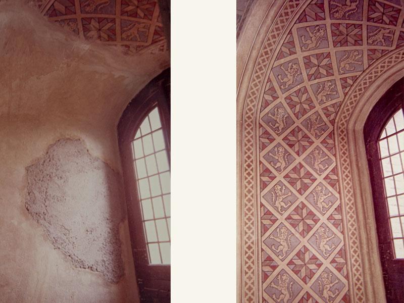 Castello di Gradara PU, decorazioni a tempera XVIII sec., anno restauro 1987