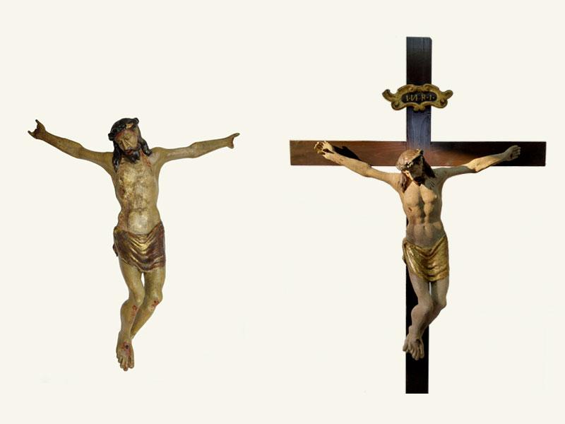 Cristo Crocifisso Chiesa di S.Gaspare del Bufalo AN, statua lignea XVII sec., anno restauro 2021