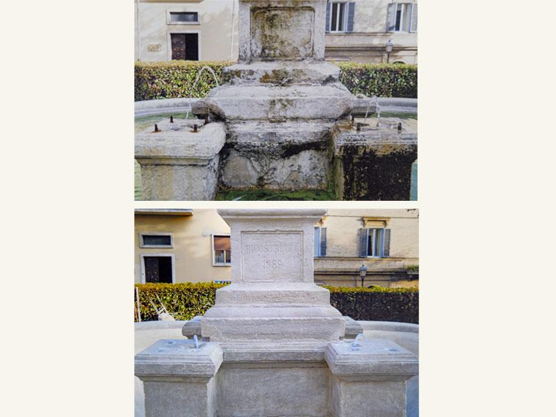 Fontana dei Galli di Loreto AN, pietra 1614-16, restauro anno 2011