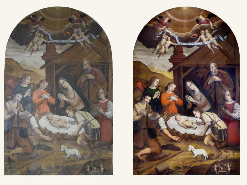 Natività di Nicola Amatorius, 1639, Chiesa S. Maria del Rosario di S. Marcello di Jesi AN, 293 x 183 cm, anno restauro 2020