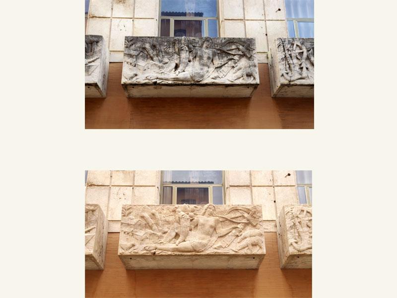 CCIAA di Pesaro, restauro altorilievi in pietra 1936, restauro anno 2020