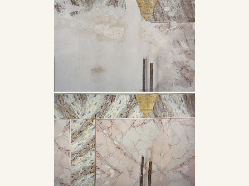 Finto marmo, decorazione a tempera XIX sec., anno restauro 1997