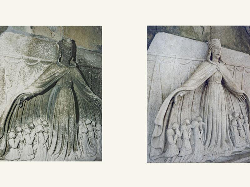 Madonna della Misericordia, pietra, anno restauro 2005